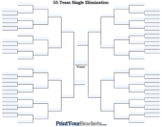 Fillable 55 Team Single Elimination Tournament Bracket