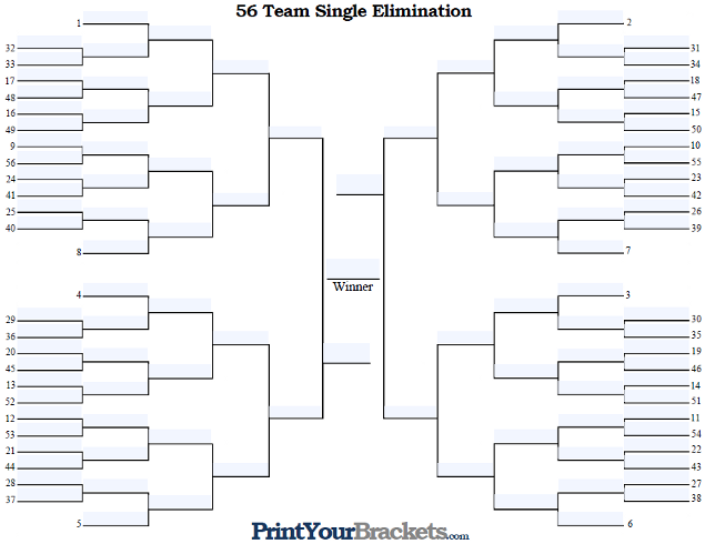 Fillable 56 Team Seeded Single Elimination Tournament Bracket