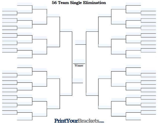 Fillable 56 Team Single Elimination Tournament Bracket