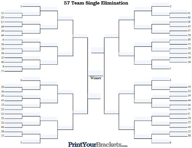 Fillable 57 Team Seeded Single Elimination Tournament Bracket
