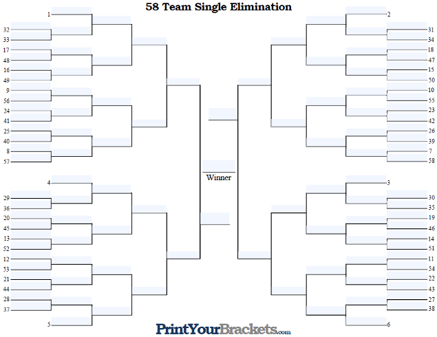 Fillable 58 Team Seeded Single Elimination Tournament Bracket