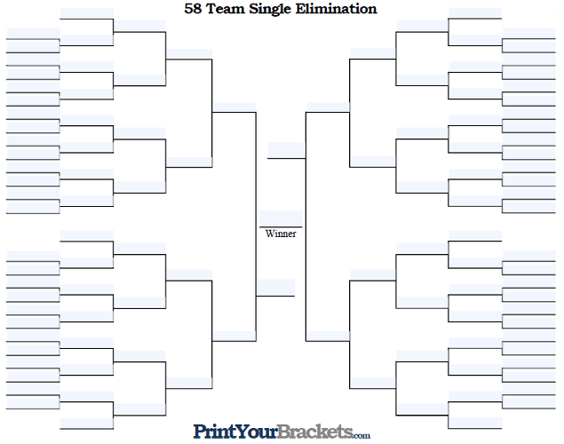 Fillable 58 Team Single Elimination Tournament Bracket