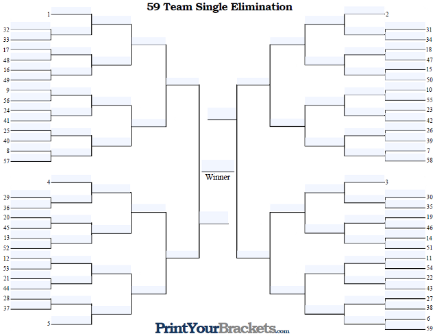 Fillable 59 Team Seeded Single Elimination Tournament Bracket