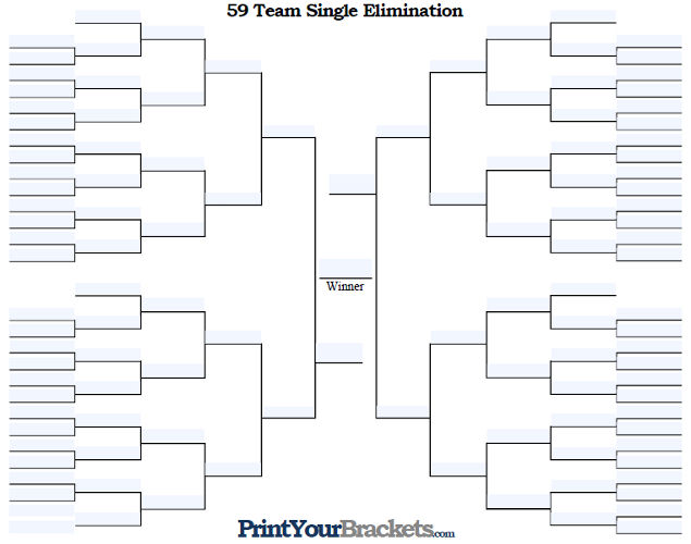 Fillable 59 Team Single Elimination Tournament Bracket
