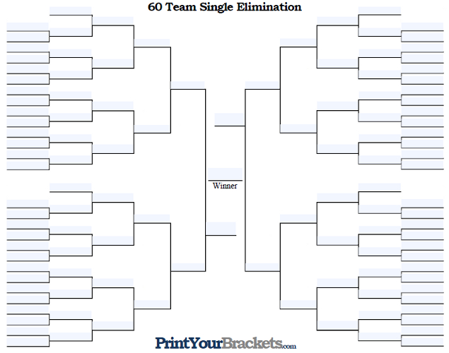 Fillable 60 Team Single Elimination Tournament Bracket