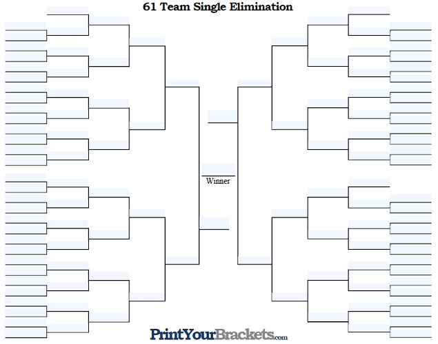 Fillable 61 Team Single Elimination Tournament Bracket