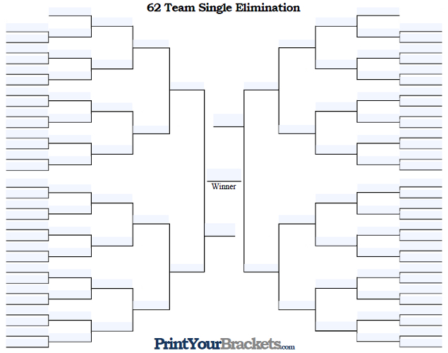 Fillable 62 Team Single Elimination Tournament Bracket