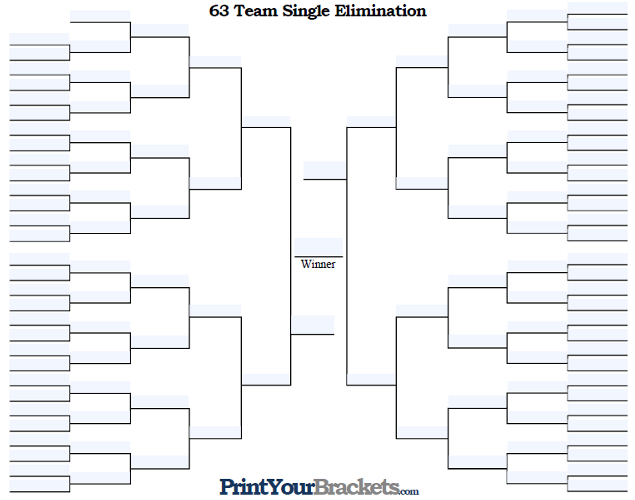 Fillable 63 Team Single Elimination Tournament Bracket
