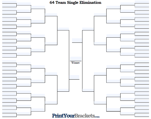 Fillable 64 Team Single Elimination Tournament Bracket