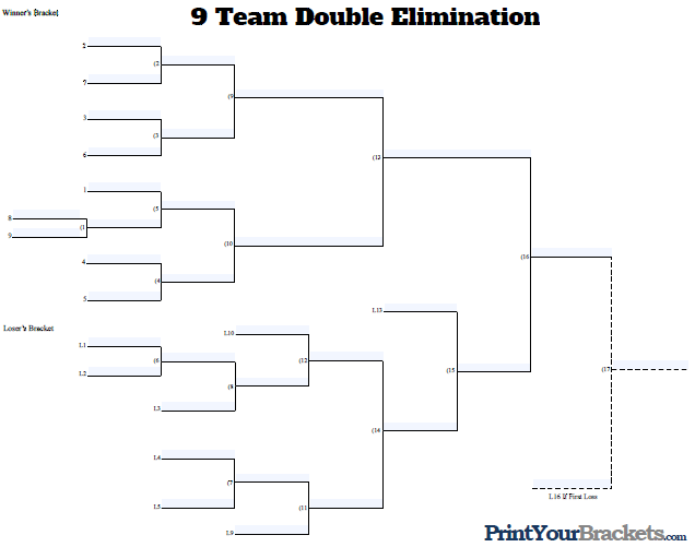 Fillable 9 Man Seeded Tournament Bracket