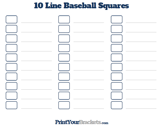 Printable 10 Line Baseball Square Pool