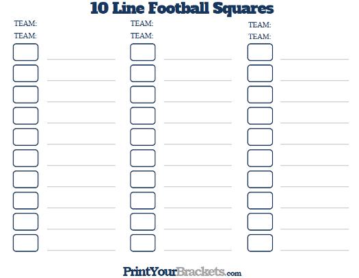 Printable 10 Line Football Squares Pool