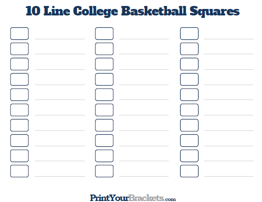 Printable 10 Line March Madness Squares