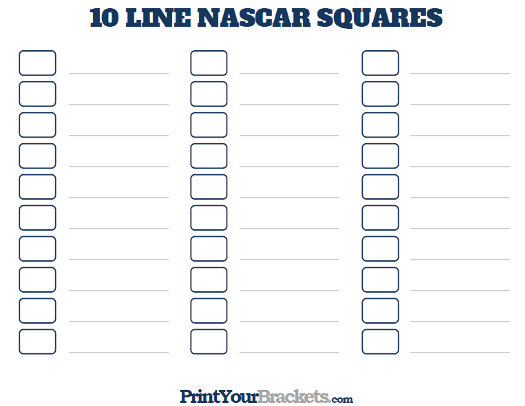 Printable 10 Line Nascar Square Pool