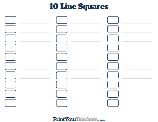 Printable 10 Line Super Bowl Squares