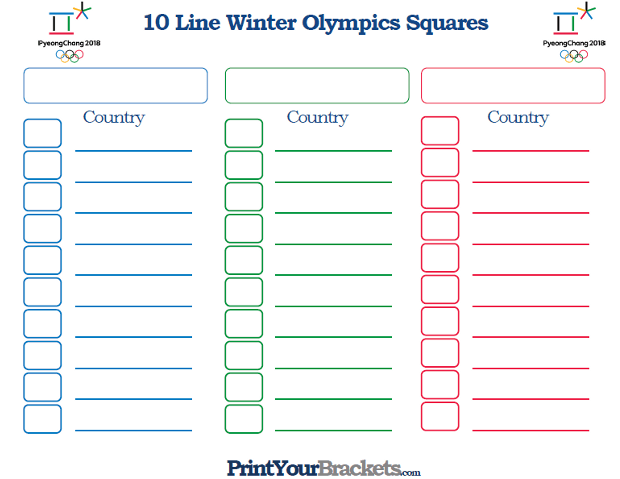 Printable 10 Line Winter Olympics Squares