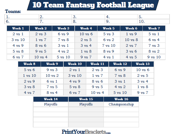 printable 10 team fantasy football league schedule