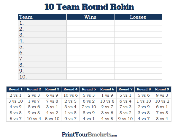 Printable 10 Team Round Robin Tournament Bracket