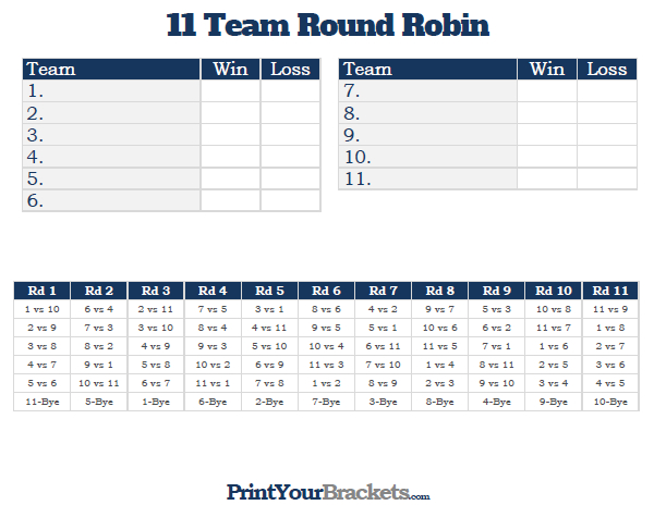 Printable 11 team round robin tournament bracket