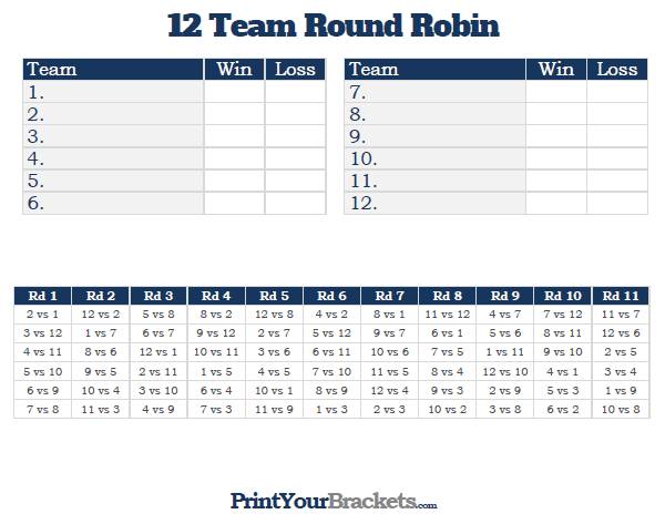 12 team round robin printable tournament bracket for 6 team draw template