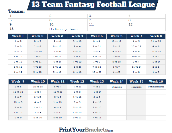 printable 13 team fantasy football league schedule. Black Bedroom Furniture Sets. Home Design Ideas