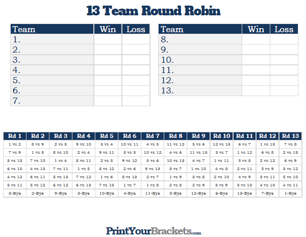 Printable 13 Team round robin tournament bracket