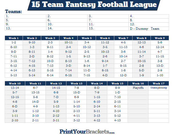 printable 15 team fantasy football league schedule