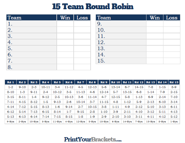 Printable 15 team round robin tournament bracket