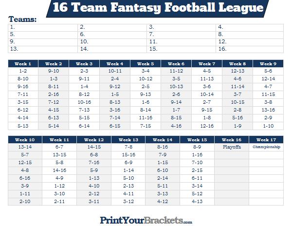 printable 16 team fantasy football league schedule