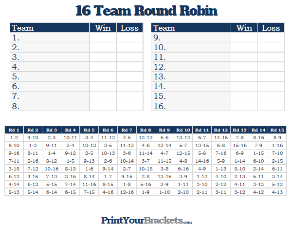 printable 16 Team Round Robin Tournament Bracket