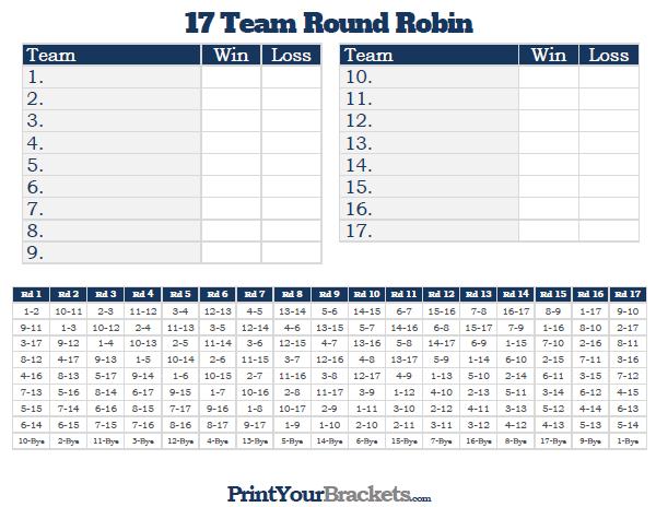 17 Team Round Robin Printable Tournament Bracket