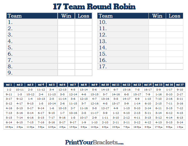 Printable 17 team round robin tournament bracket