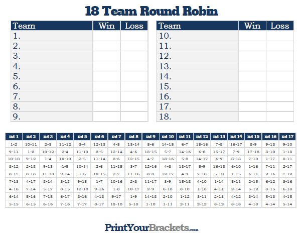 Printable 18 Team Round Robin Tournament Bracket