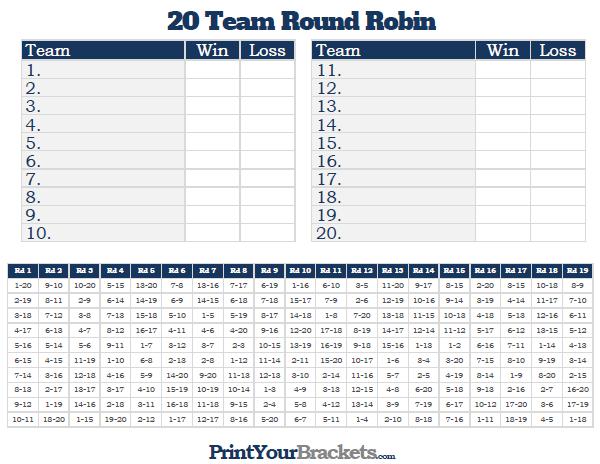 20 team round robin printable tournament bracket. Black Bedroom Furniture Sets. Home Design Ideas