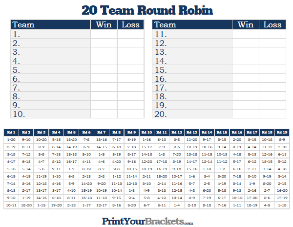 Printable 20 Team Round Robin Tournament