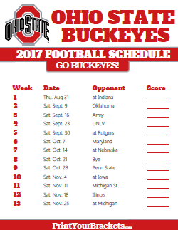 2017 College Football Schedules