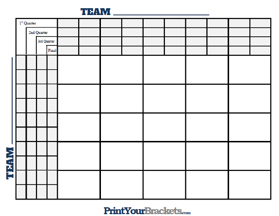 25 Square Grid with Quarter Lines - Printable Version