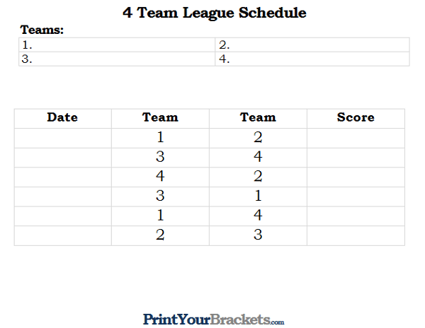 Printable 4 Team and Player League Schedule