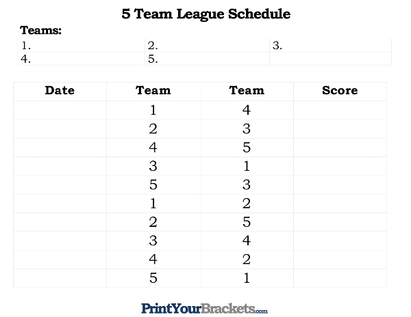 Printable 5 Team And Player League Schedule