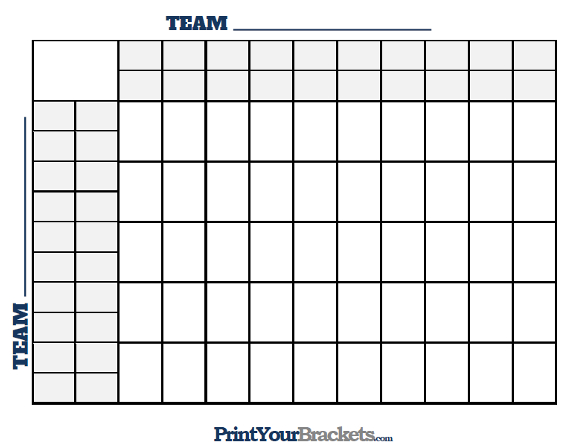 50 Square Grid with Halftime Lines - Printable Version