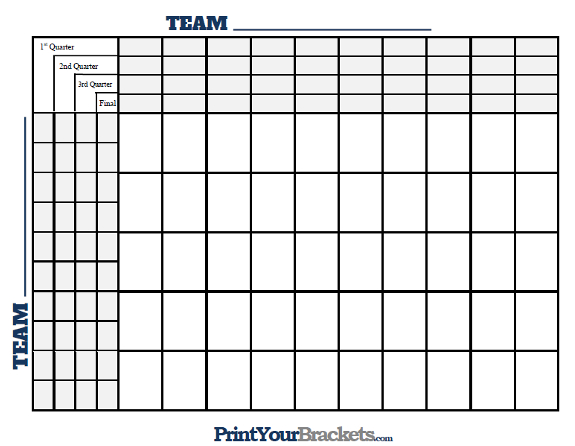 image about Football Squares Printable named 50 Sq. Grid with Quarter Strains - Printable Variation
