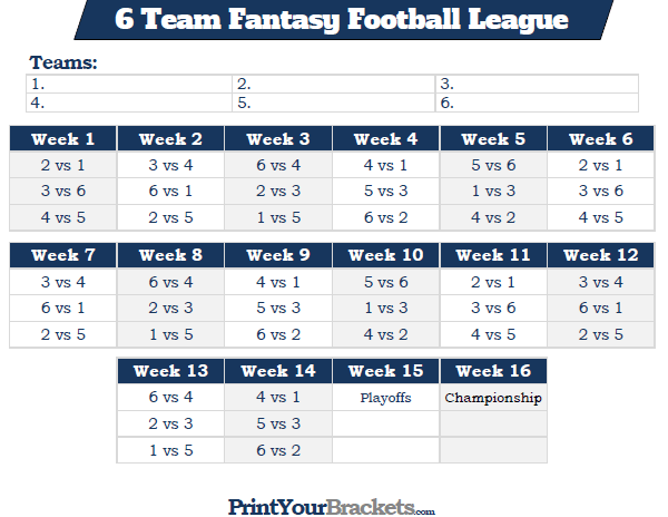 Printable 6 team fantasy football league schedule for 6 team draw template