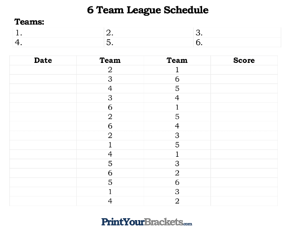 printable 6 team league schedule