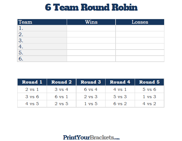 6 Team Round Robin Printable Tournament Bracket