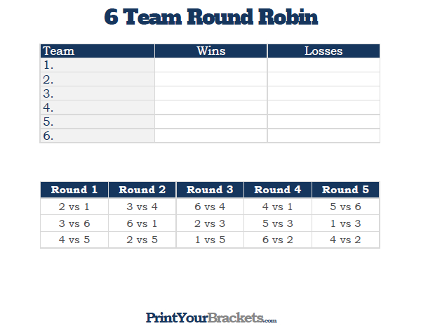 Printable 6 team round robin tournament bracket