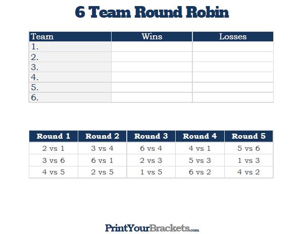 6 team round robin printable tournament bracket