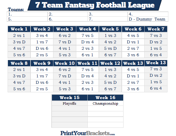 Printable 7 Team Fantasy Football League Schedule