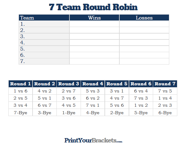 7 Team Round Robin Printable Tournament Bracket