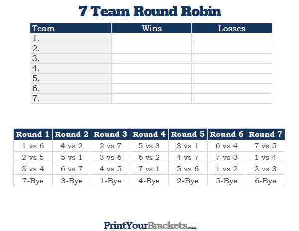 Printable 7 team round robin tournament