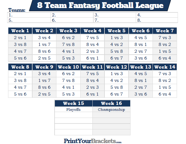 Printable 8 Team Fantasy Football League Schedule
